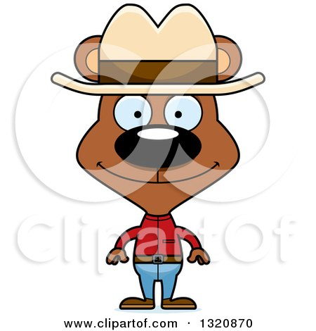 Clipart of a Cartoon Happy Brown Bear Cowboy - Royalty Free Vector Illustration by Cory Thoman