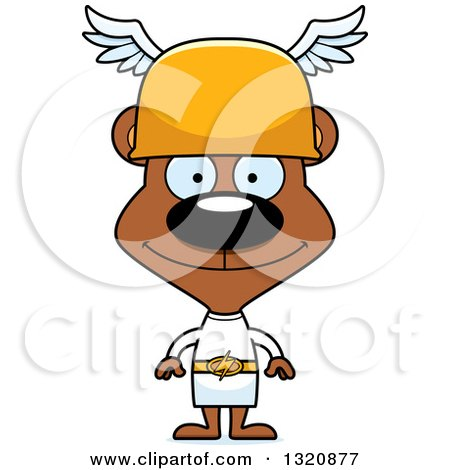 Clipart of a Cartoon Happy Brown Bear Hermes - Royalty Free Vector Illustration by Cory Thoman