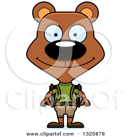 Clipart of a Cartoon Happy Brown Bear Hiker - Royalty Free Vector Illustration by Cory Thoman