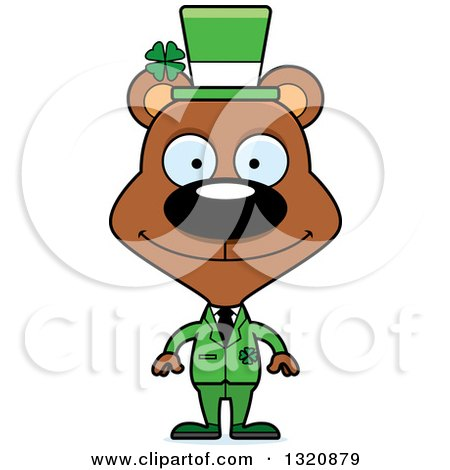 Clipart of a Cartoon Happy Brown Irish St Patricks Day Bear - Royalty Free Vector Illustration by Cory Thoman
