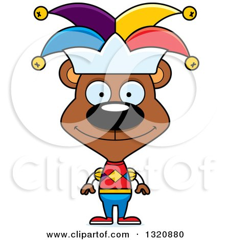 Clipart of a Cartoon Happy Brown Bear Jester - Royalty Free Vector Illustration by Cory Thoman