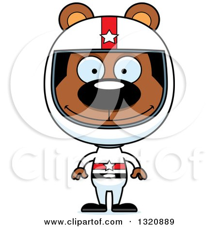 Clipart of a Cartoon Happy Brown Bear Racer - Royalty Free Vector Illustration by Cory Thoman
