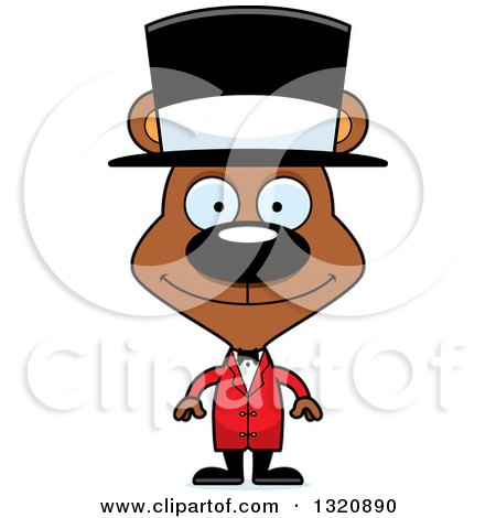 Clipart of a Cartoon Happy Brown Bear Cirucs Ringmaster - Royalty Free Vector Illustration by Cory Thoman