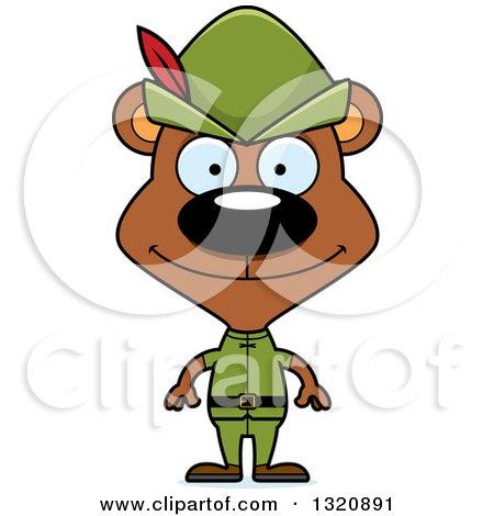 Clipart of a Cartoon Happy Brown Robin Hood Bear - Royalty Free Vector Illustration by Cory Thoman