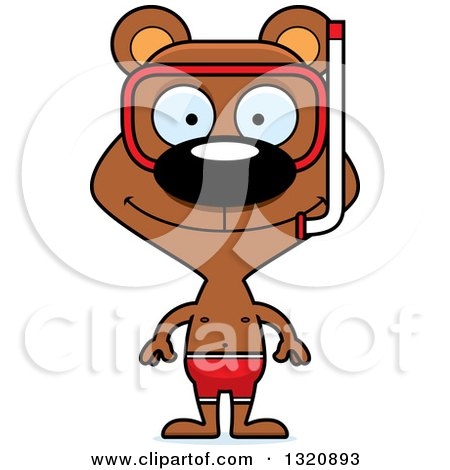 Clipart of a Cartoon Happy Brown Snorkel Bear - Royalty Free Vector Illustration by Cory Thoman