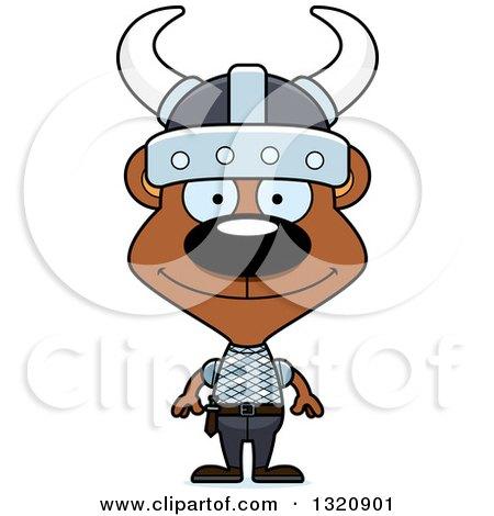Clipart of a Cartoon Happy Brown Viking Bear - Royalty Free Vector Illustration by Cory Thoman