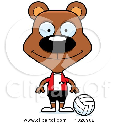 Clipart of a Cartoon Happy Brown Bear Volleyball Player - Royalty Free Vector Illustration by Cory Thoman