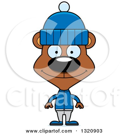 Clipart of a Cartoon Happy Brown Bear in Winter Clothes - Royalty Free Vector Illustration by Cory Thoman