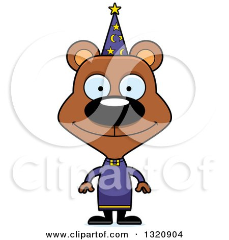 Clipart of a Cartoon Happy Brown Bear Wizard - Royalty Free Vector Illustration by Cory Thoman