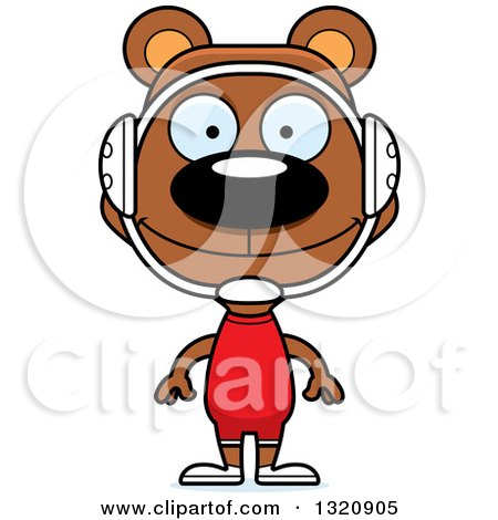 Clipart of a Cartoon Happy Brown Bear Wrestler - Royalty Free Vector Illustration by Cory Thoman