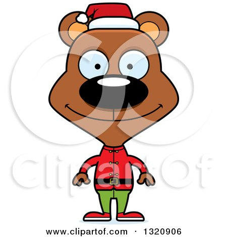 Clipart of a Cartoon Happy Brown Christmas Elf Bear - Royalty Free Vector Illustration by Cory Thoman