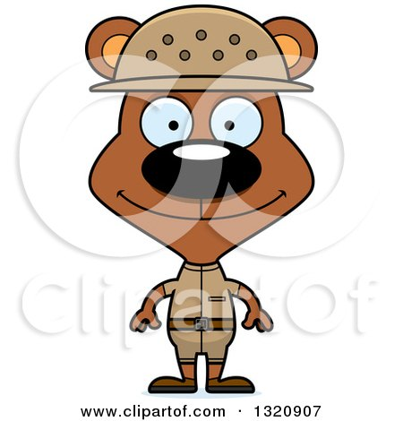 Clipart of a Cartoon Happy Brown Zookeeper Bear - Royalty Free Vector Illustration by Cory Thoman