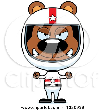 Clipart of a Cartoon Angry Brown Bear Race Car Driver - Royalty Free Vector Illustration by Cory Thoman