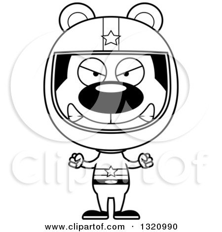 Lineart Clipart of a Cartoon Black and White Angry Bear Race Car Driver - Royalty Free Outline Vector Illustration by Cory Thoman