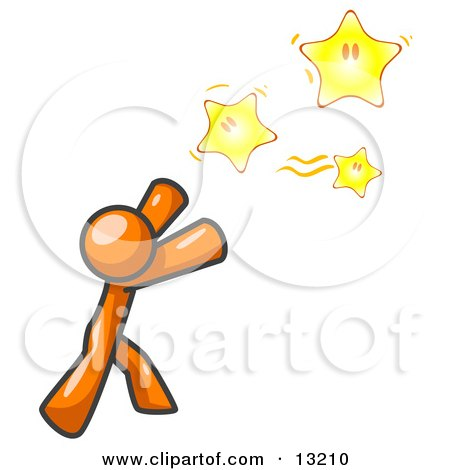 Orange Man Reaching For the Stars Clipart Illustration by Leo Blanchette