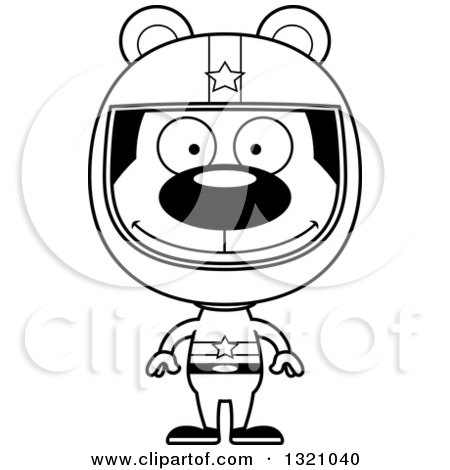 Lineart Clipart of a Cartoon Black and White Happy Bear Racer - Royalty Free Outline Vector Illustration by Cory Thoman