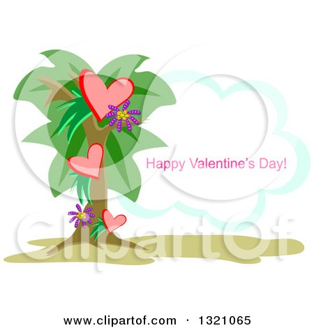 Clipart of a Heart Palm Tree with Happy Valentines Day Text on a Cloud - Royalty Free Vector ...