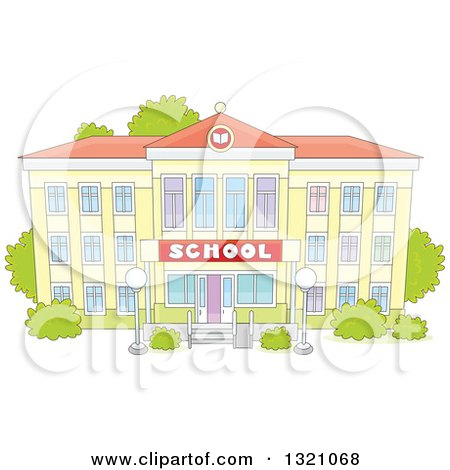 Clipart of a Cartoon Yellow School Building Facade - Royalty Free Vector Illustration by Alex Bannykh