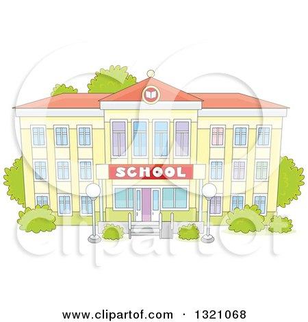 Clipart Of A Cartoon Yellow School Building Facade Royalty Free Vector Illustration