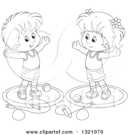 Lineart Clipart of a Cartoon Black and White Boy and Girl Working out with Balls and Jump Ropes - Royalty Free Outline Vector Illustration by Alex Bannykh