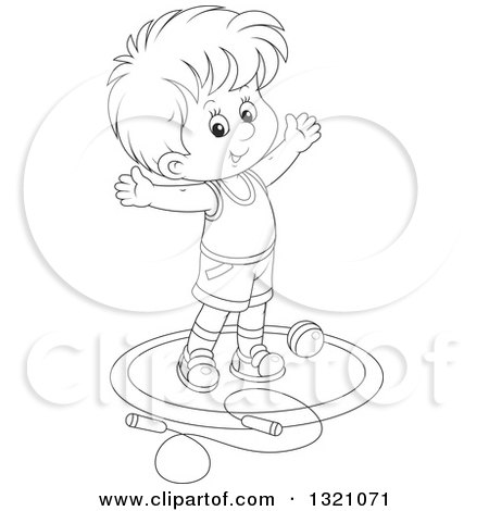 Lineart Clipart of a Cartoon Black and White Boy Working out with a Ball and Jump Rope - Royalty Free Outline Vector Illustration by Alex Bannykh