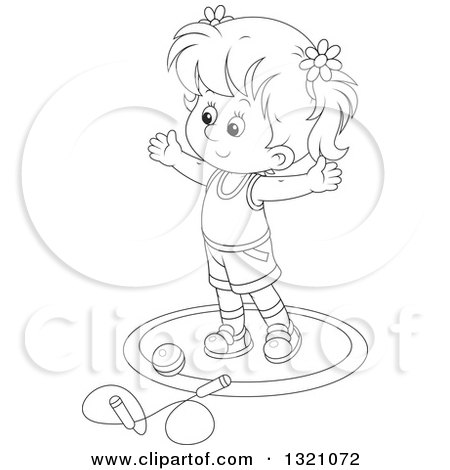 Lineart Clipart of a Cartoon Black and White Girl Working out with a Ball and Jump Rope - Royalty Free Outline Vector Illustration by Alex Bannykh