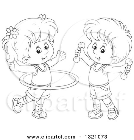 Lineart Clipart of a Cartoon Black and White Boy and Girl Working out with Dumbbell Weights and a Hula Hoop - Royalty Free Outline Vector Illustration by Alex Bannykh