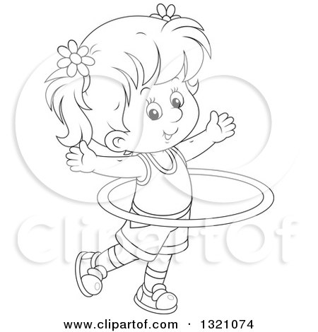 Lineart Clipart of a Cartoon Black and White Girl Exercising with a Hula Hoop - Royalty Free Outline Vector Illustration by Alex Bannykh