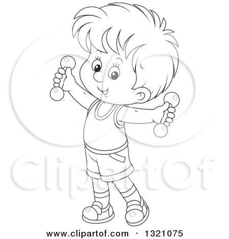 Lineart Clipart of a Cartoon Black and White Boy Working out with Dumbbells - Royalty Free Outline Vector Illustration by Alex Bannykh