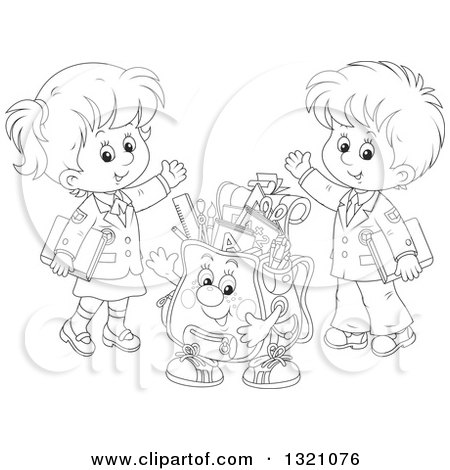 Lineart Clipart of a Cartoon Black and White Backpack Character and Waving School Children in Uniforms - Royalty Free Outline Vector Illustration by Alex Bannykh