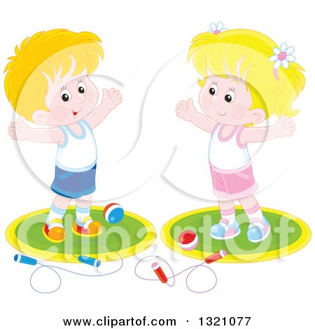 Clipart of a Cartoon Caucasian Boy and Girl Working out with Balls and Jump Ropes - Royalty Free Vector Illustration by Alex Bannykh