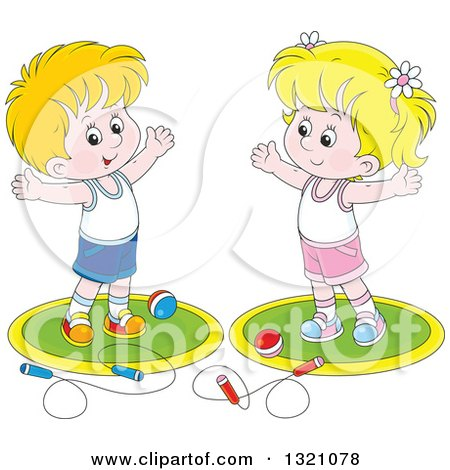 Clipart of a Cartoon White Boy and Girl Working out with Balls and Jump Ropes - Royalty Free Vector Illustration by Alex Bannykh