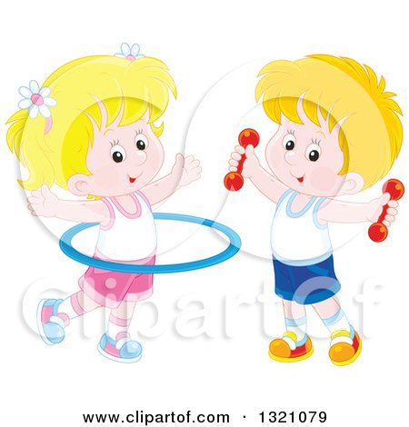 Clipart of a Cartoon Caucasian Boy and Girl Working out with Dumbbell Weights and a Hula Hoop - Royalty Free Vector Illustration by Alex Bannykh