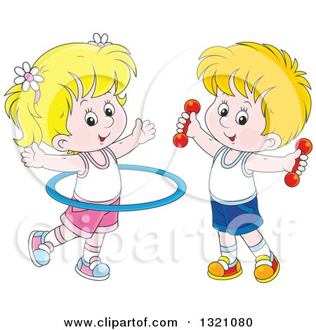 Clipart of a Cartoon White Boy and Girl Working out with Dumbbell Weights and a Hula Hoop - Royalty Free Vector Illustration by Alex Bannykh