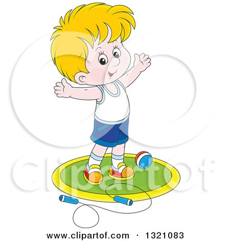 Clipart of a Cartoon White Boy Working out with a Ball and Jump Rope - Royalty Free Vector Illustration by Alex Bannykh