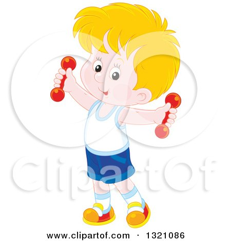 Clipart of a Cartoon Caucasian Boy Working out with Dumbbells - Royalty Free Vector Illustration by Alex Bannykh
