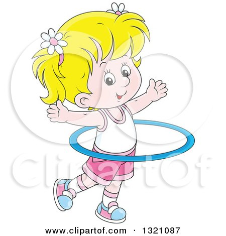 Clipart of a Cartoon Blond White Girl Exercising with a Hula Hoop - Royalty Free Vector Illustration by Alex Bannykh