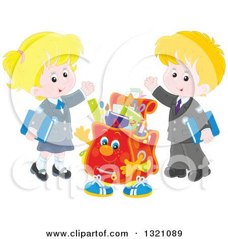 Clipart of a Cartoon Backpack Character and Waving Caucasian School Children in Uniforms - Royalty Free Vector Illustration by Alex Bannykh
