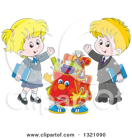 Cartoon Backpack Character and Waving White School Children in Uniforms Posters, Art Prints