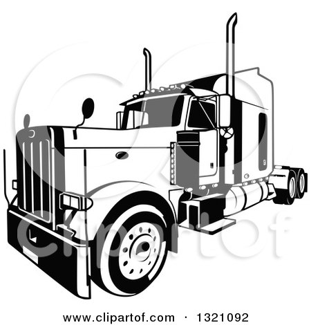 Clipart of a Black and White Lorry Big Rig Truck 3 - Royalty Free Vector Illustration by dero
