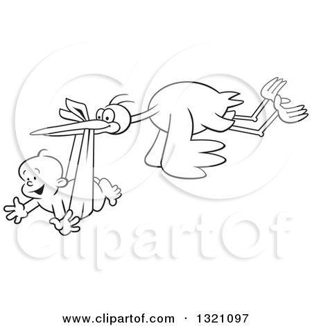 Lineart Clipart of a Cartoon Black and White Stork Bird Flying a Happy Baby Boy in a Bundle - Royalty Free Outline Vector Illustration by Johnny Sajem