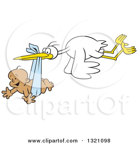 Clipart of a Cartoon Stork Bird Flying a Happy Black Baby Boy in a Blue Bundle - Royalty Free Vector Illustration by Johnny Sajem