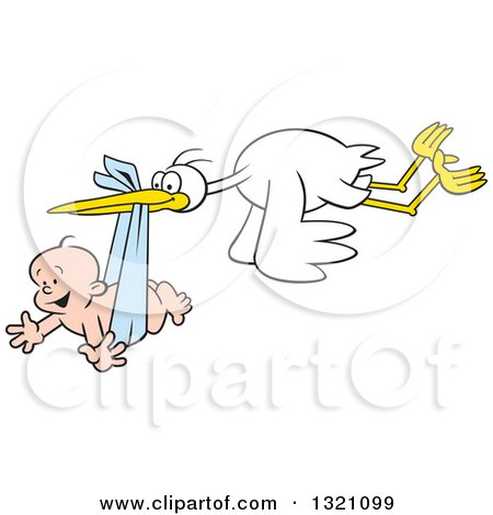 Clipart of a Cartoon Stork Bird Flying a Happy White Baby Boy in a Blue Bundle - Royalty Free Vector Illustration by Johnny Sajem