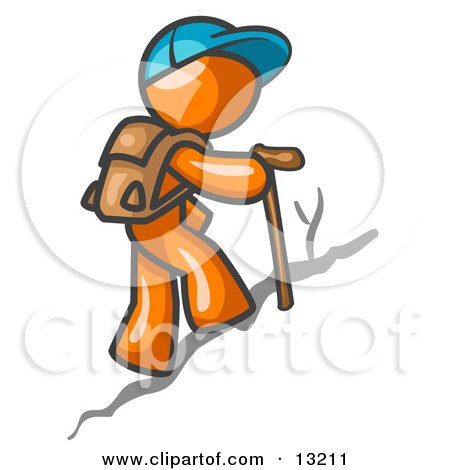 Orange Man Backpacking and Hiking Uphill Clipart Illustration by Leo Blanchette