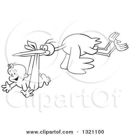Lineart Clipart of a Cartoon Black and White Stork Bird Flying a Happy Baby Girl in a Bundle - Royalty Free Outline Vector Illustration by Johnny Sajem