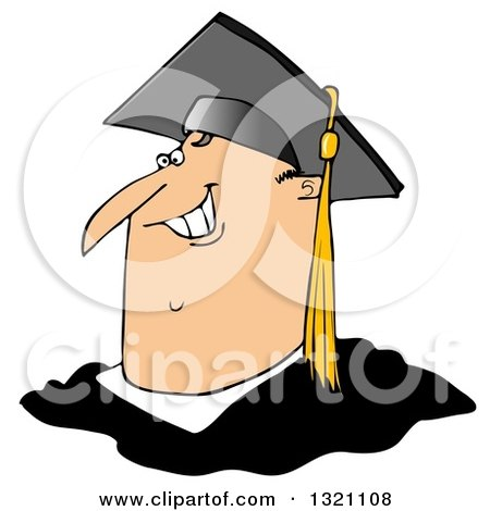 Clipart of a Cartoon Happy Chubby White Male Graduate Smiling, from the Shoulders up - Royalty Free Illustration by djart