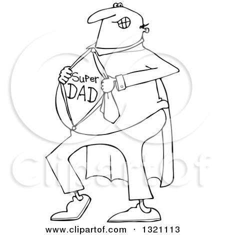 Lineart Clipart of a Cartoon Black and White Chubby Dad Showing His Super Hero Shirt - Royalty Free Outline Vector Illustration by djart