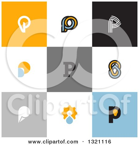 Clipart of Flat Design Droplet and Light Bulb Letter P Designs - Royalty Free Vector Illustration by elena