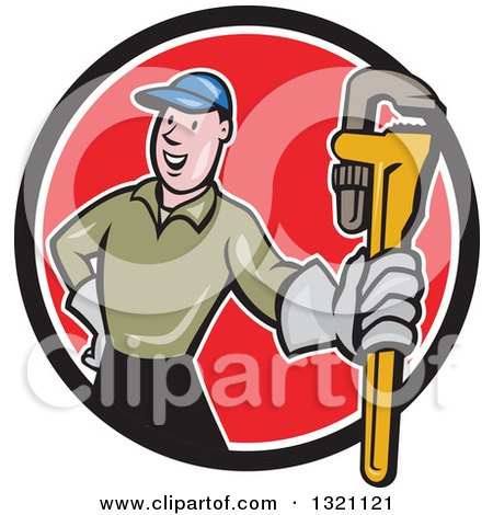 Clipart of a Cartoon White Male Plumber Holding out a Monkey Wrench in a Black White and Red Circle - Royalty Free Vector Illustration by patrimonio