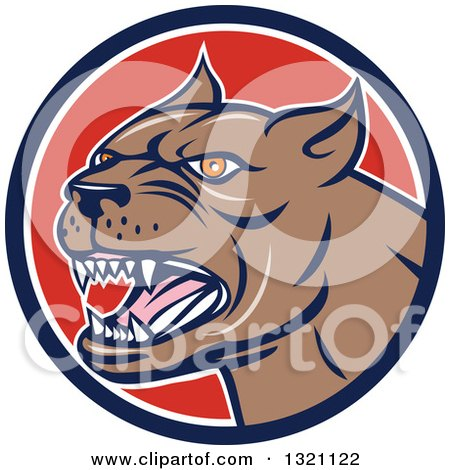 Clipart of a Cartoon Barking Brown Pitbull Guard Dog Head in a Navy Blue White and Red Circle - Royalty Free Vector Illustration by patrimonio